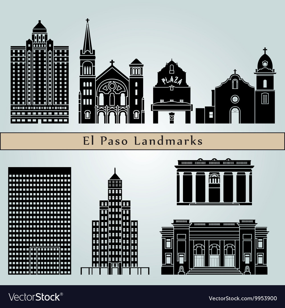 El paso landmarks and monuments vector