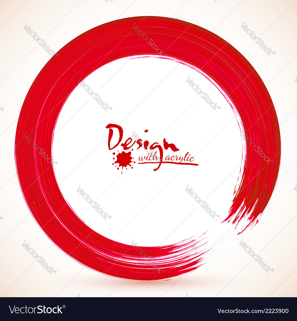 Red paintbrush circle frame vector