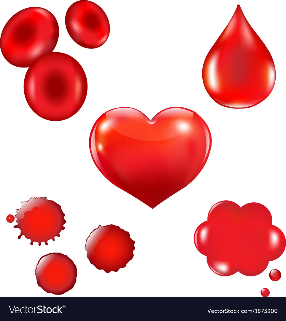 Set with blood drop and heart vector