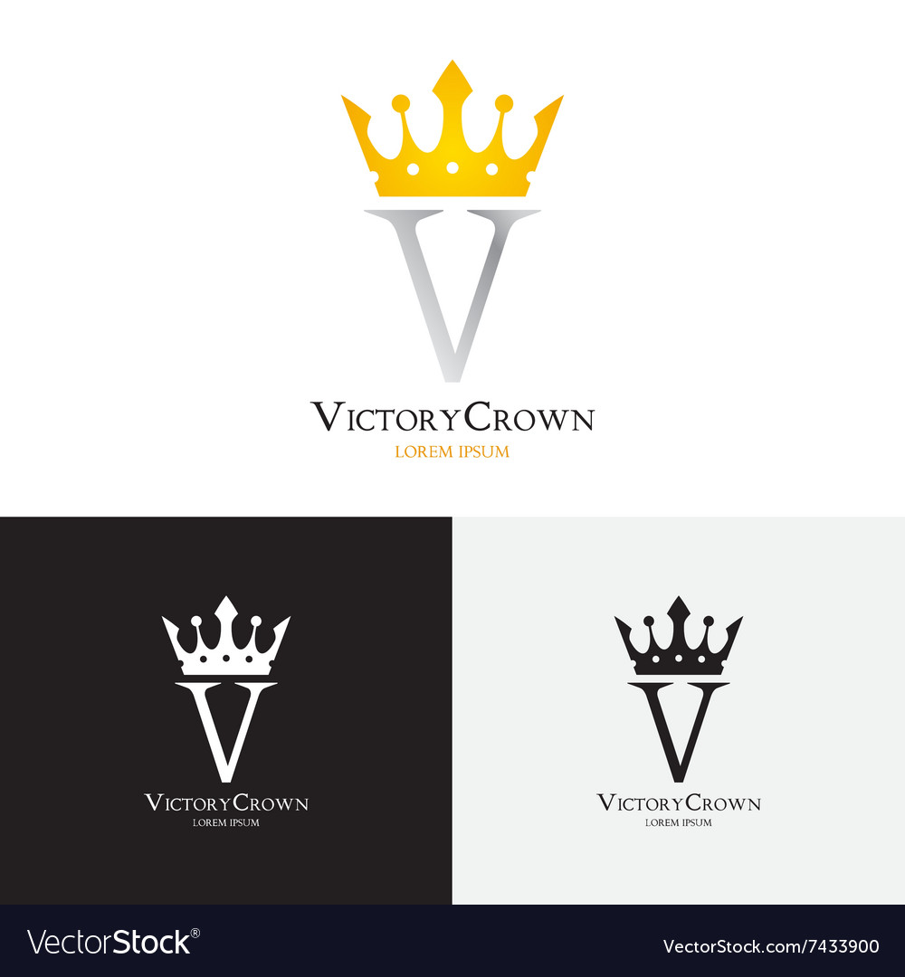 Template of victory crown logo vector