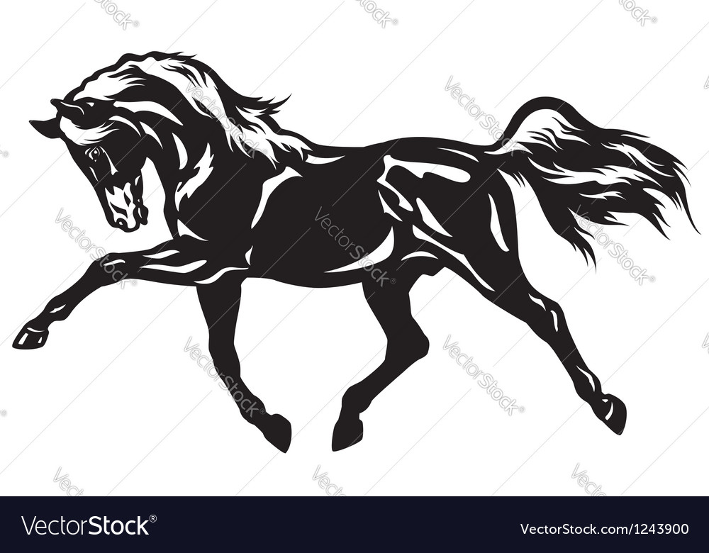 Trotting horse black white vector