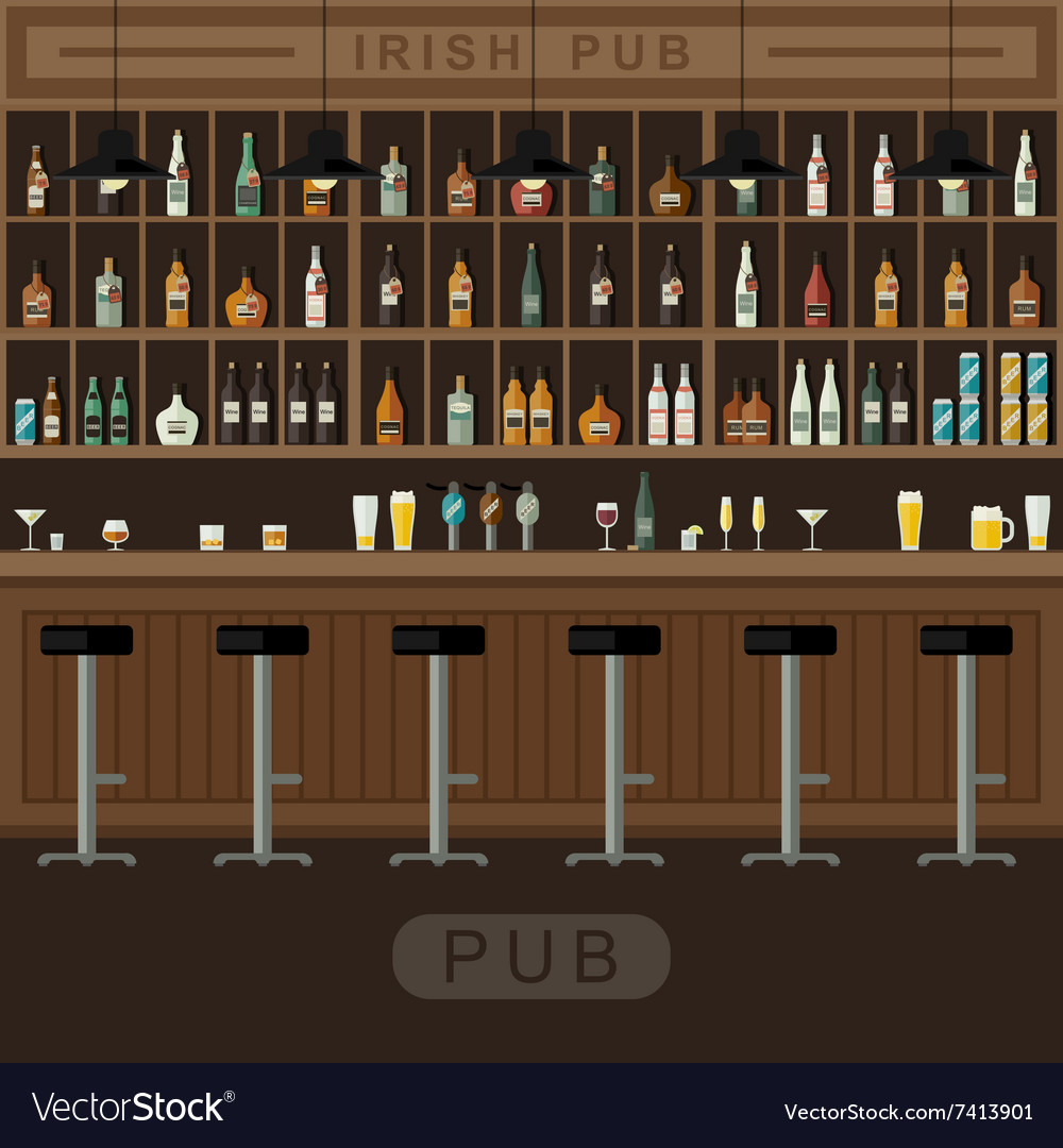 Bar interior with counter vector
