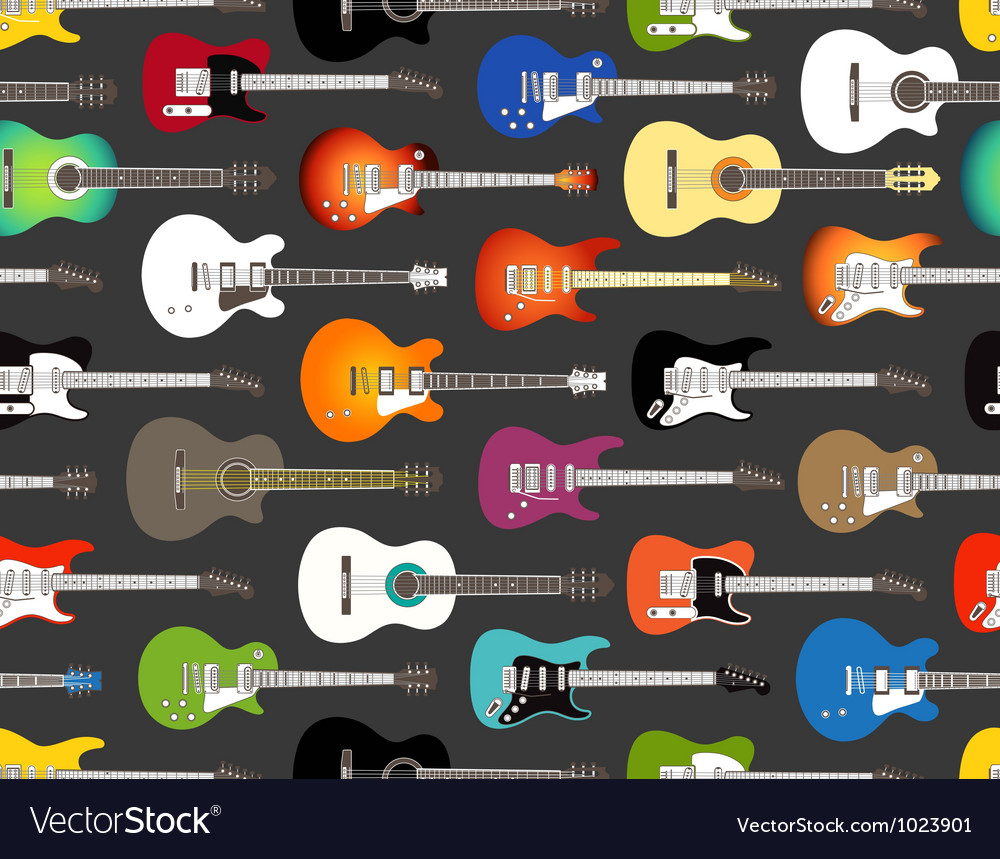Pattern of color acoustic and electric guitars vector
