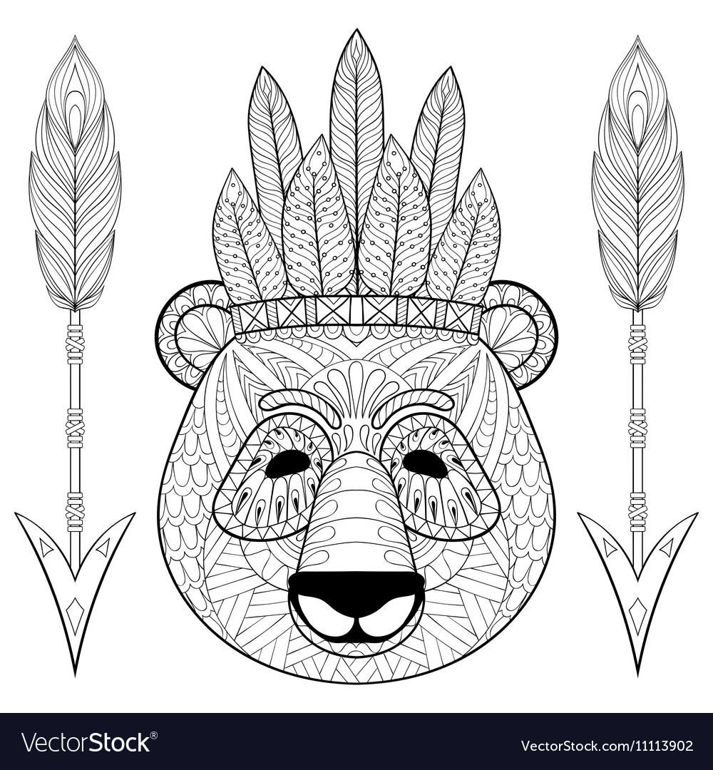 Panda with warbonnet arrows in zentangle style vector