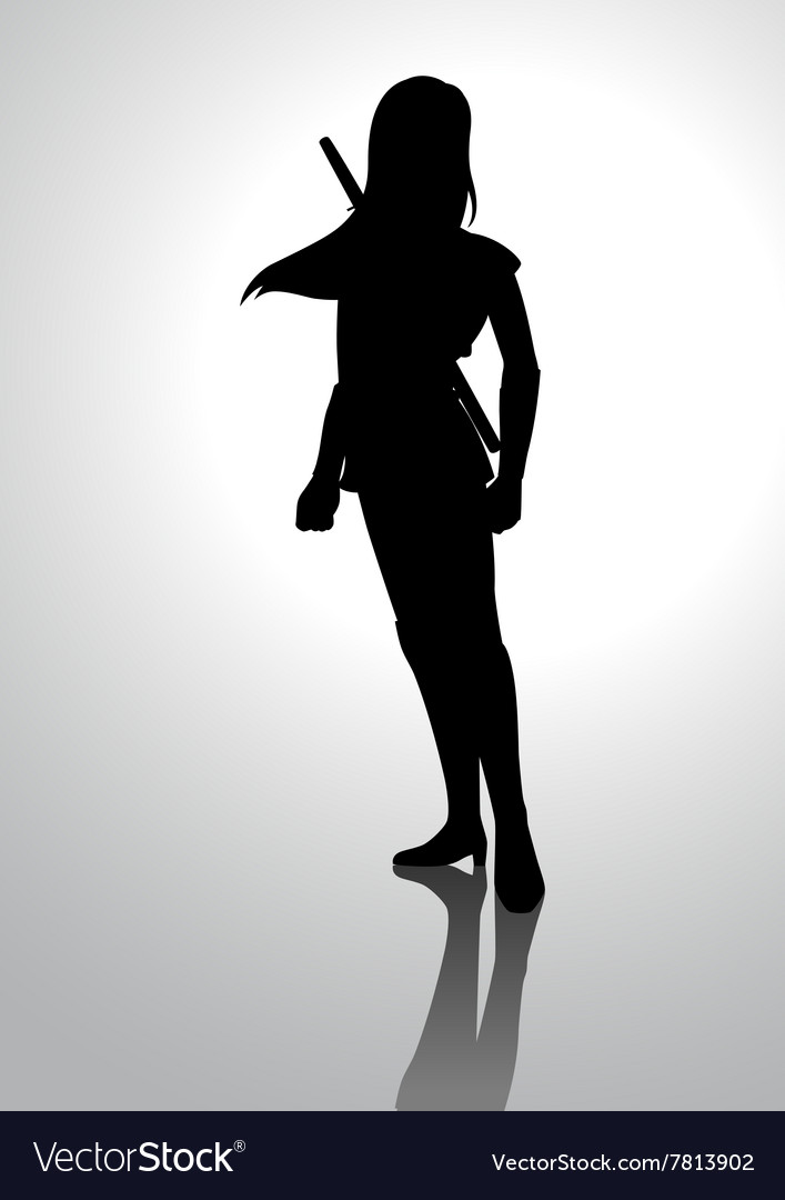 Silhouette of a warrior girl vector