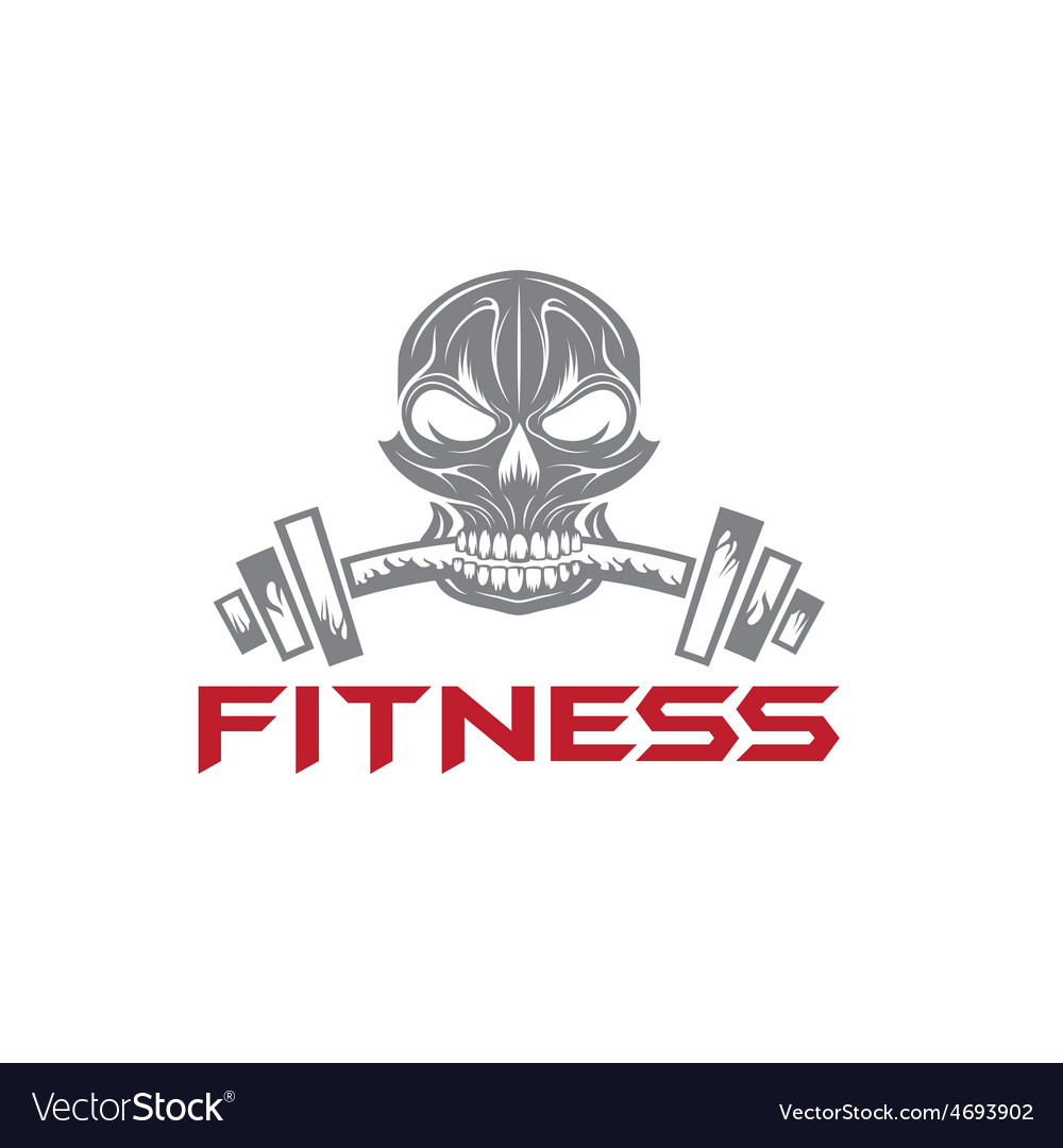 Skull holding a barbell in the teeth vector