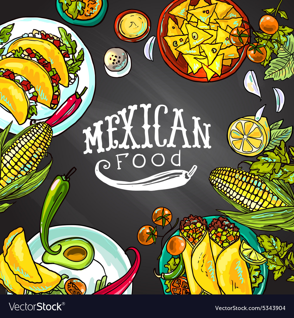 Mexican food on the chalkboard vector