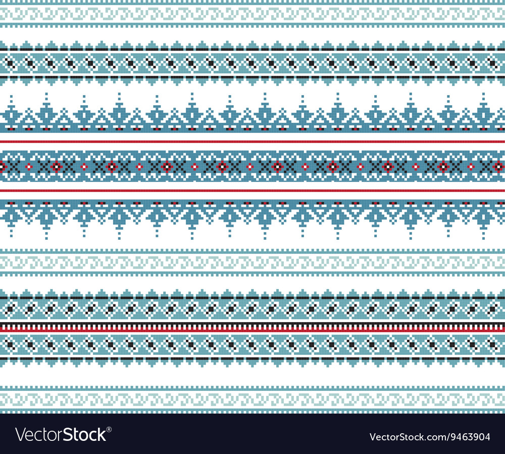 Set of ethnic ornament pattern in blue colors vector