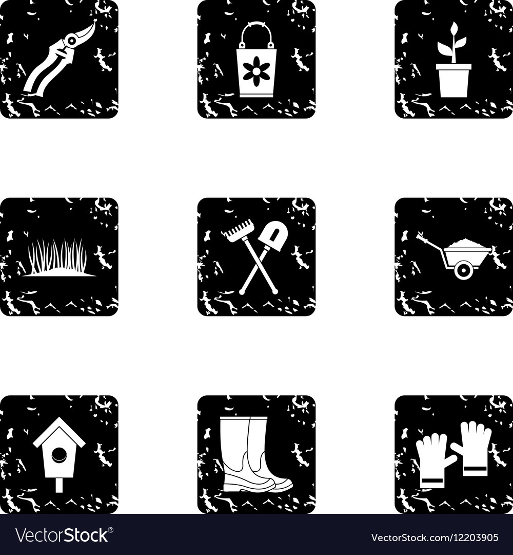 Farming icons set grunge style vector