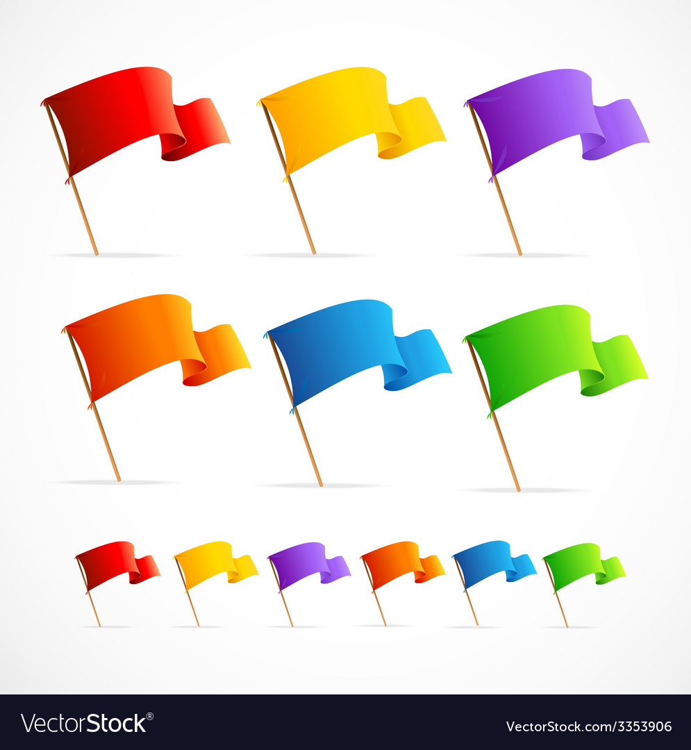 Collection of different color flags vector
