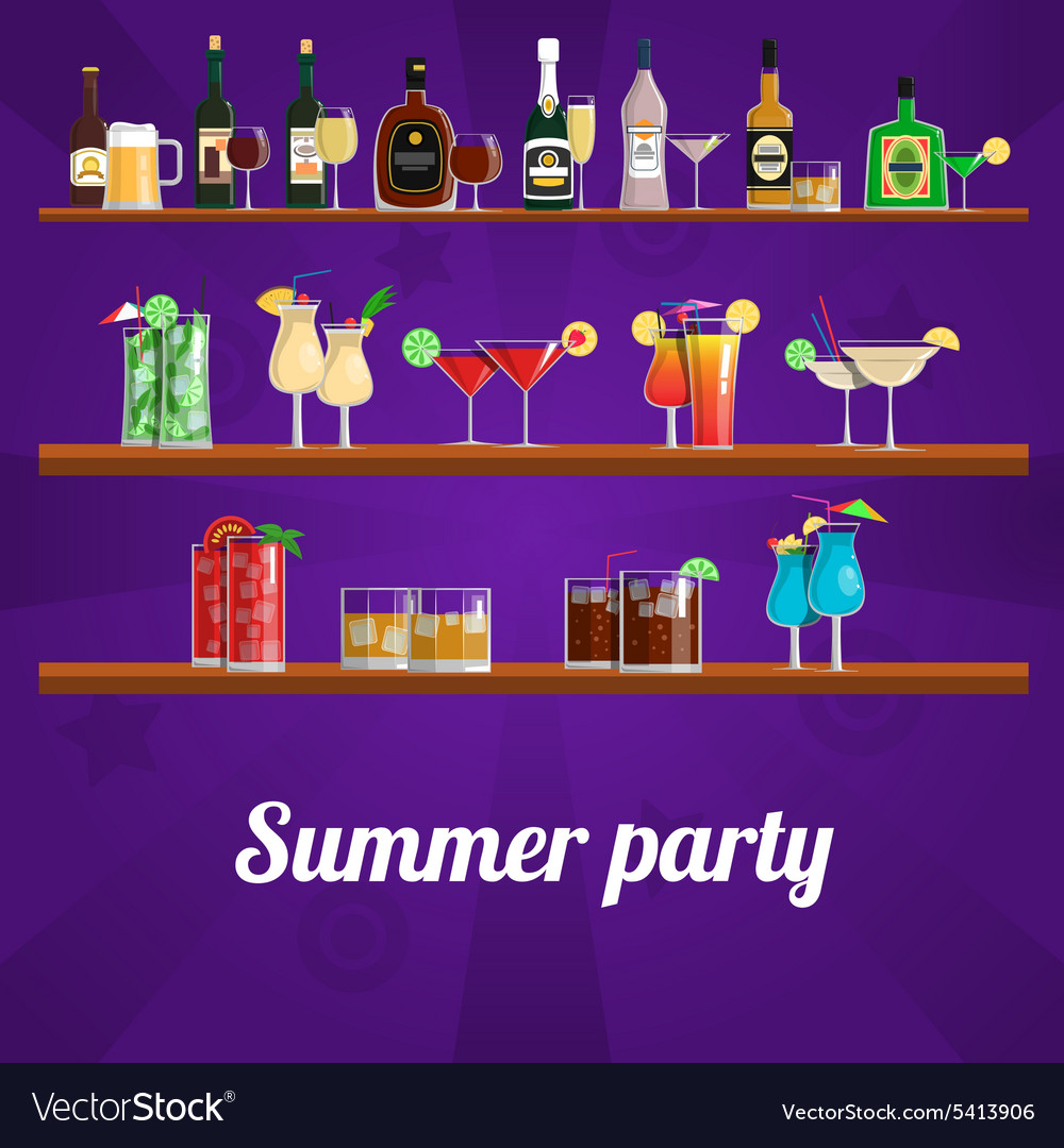 Summer cocktail party concept vector