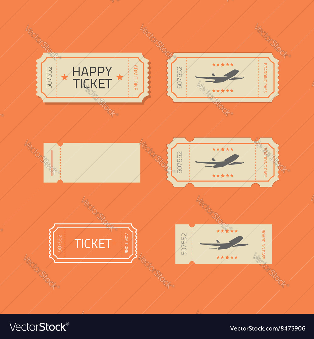 Ticket icons set isolated on orange vector