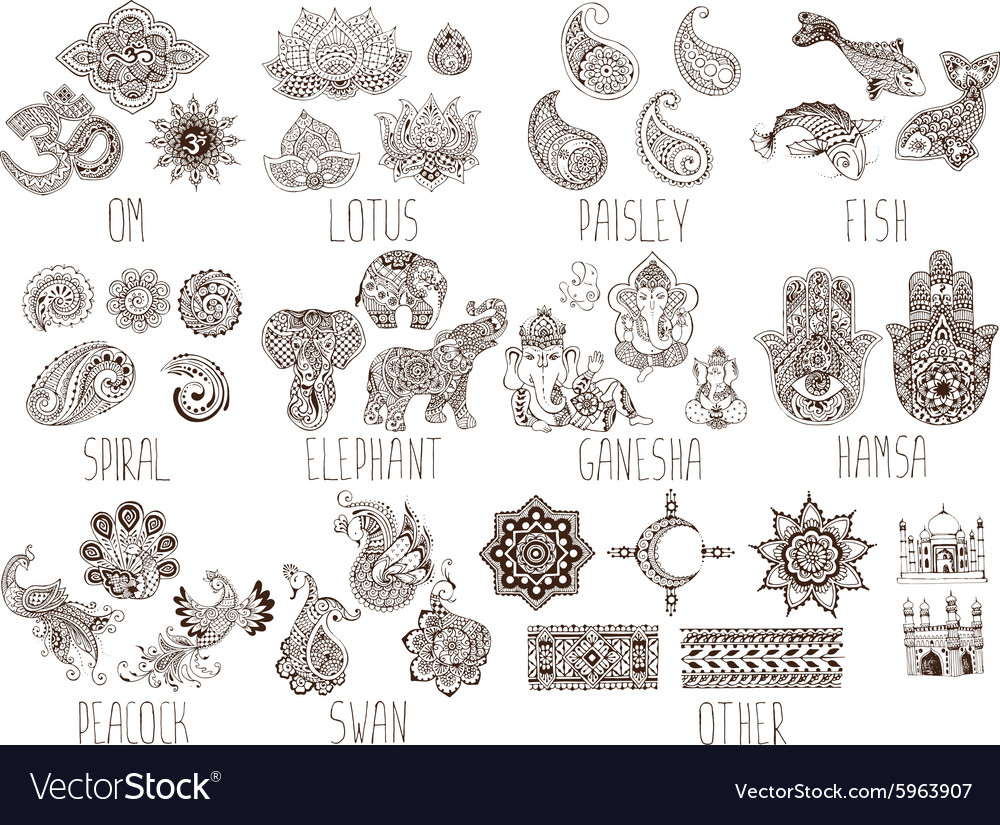 Set of sketches mehndi vector