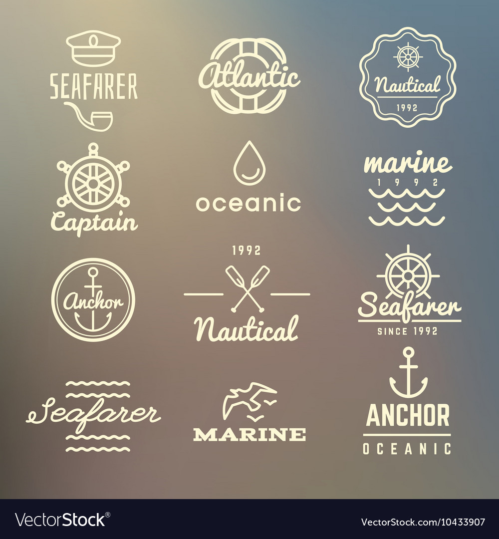 Vintage marine nautical navy labels vector