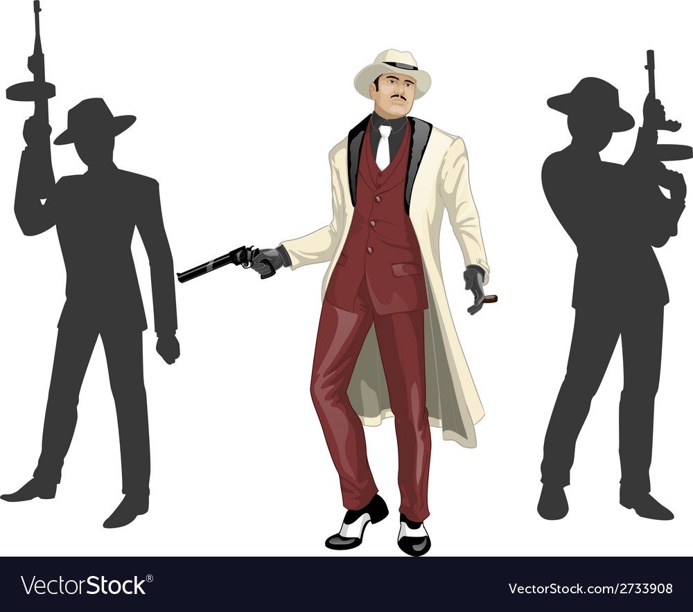 Asian mafioso godfather with crew silhouettes vector