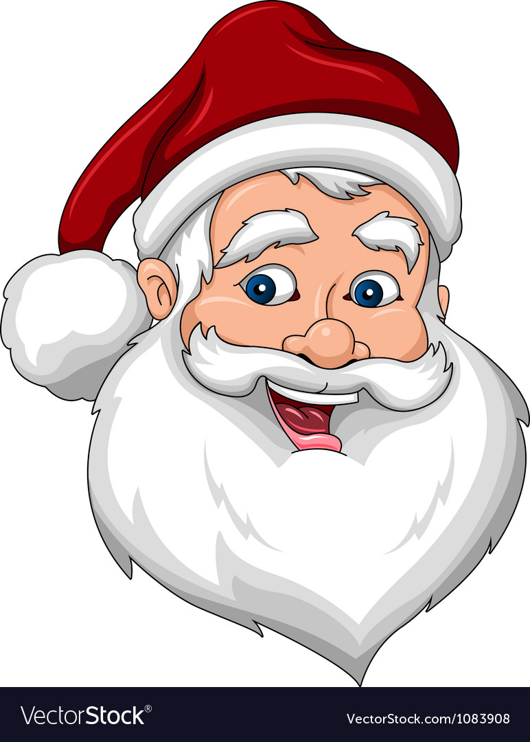 Happy santa claus face side view vector