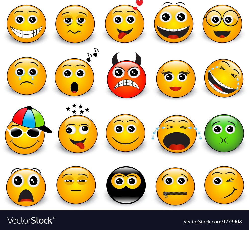 Set of bright yellow round emotions vector