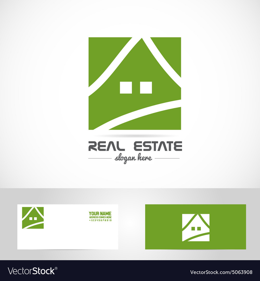 Simple green house real estate logo vector
