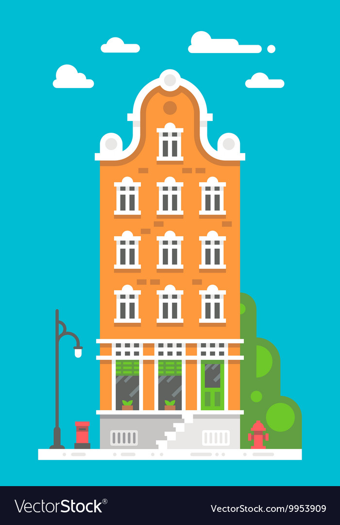 Flat design european building vector
