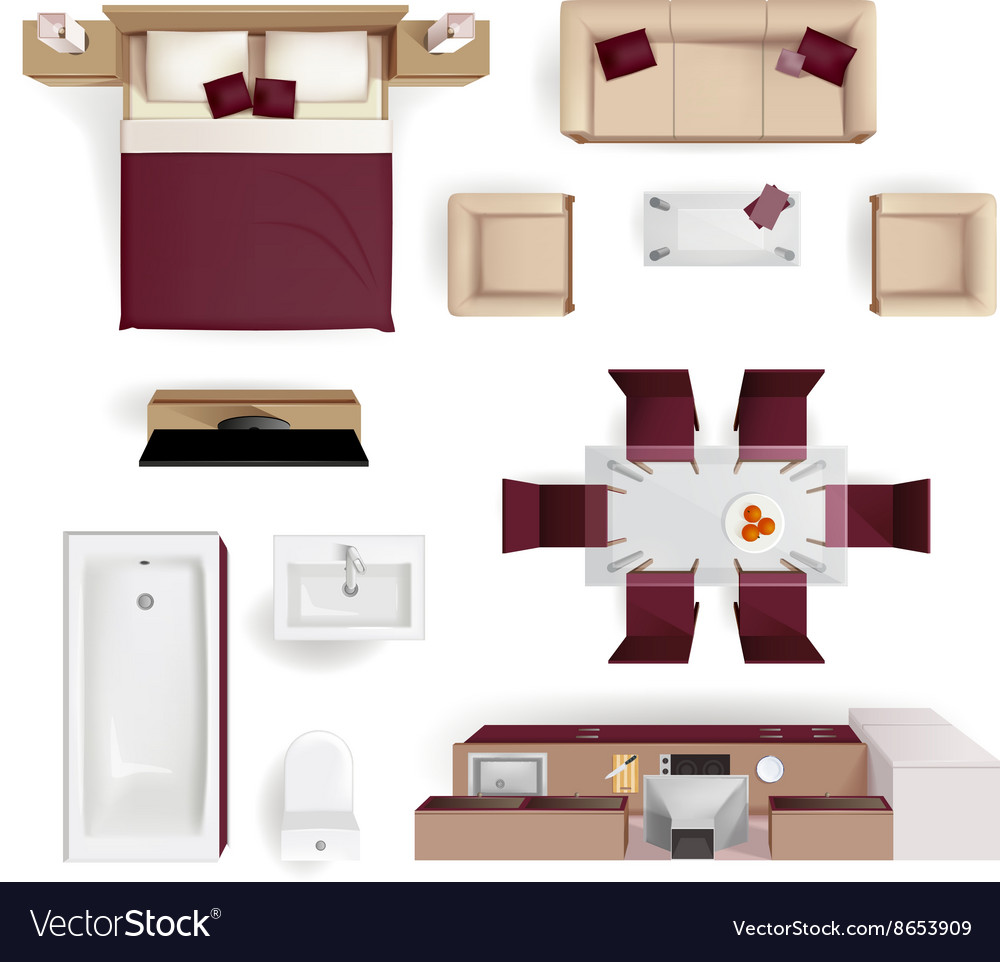 Interior elements top view realistic image vector