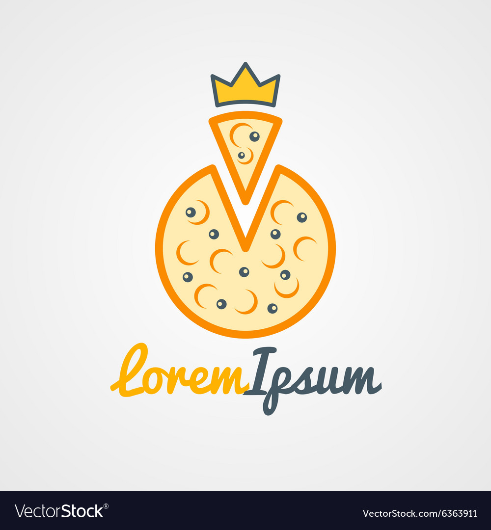 Logo template pizza with golden crown logo for vector