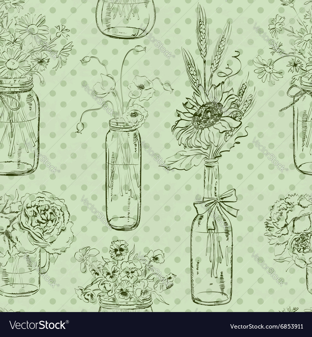 Seamless pattern of mason jars with flowers vector
