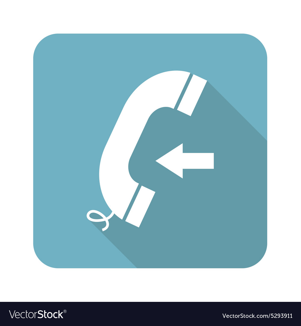 Square incoming call icon vector
