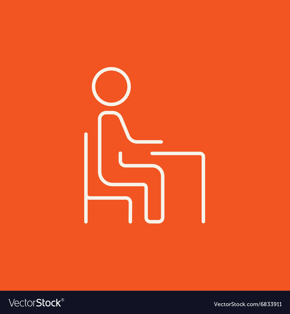 Student sitting on chair at the desk line icon vector