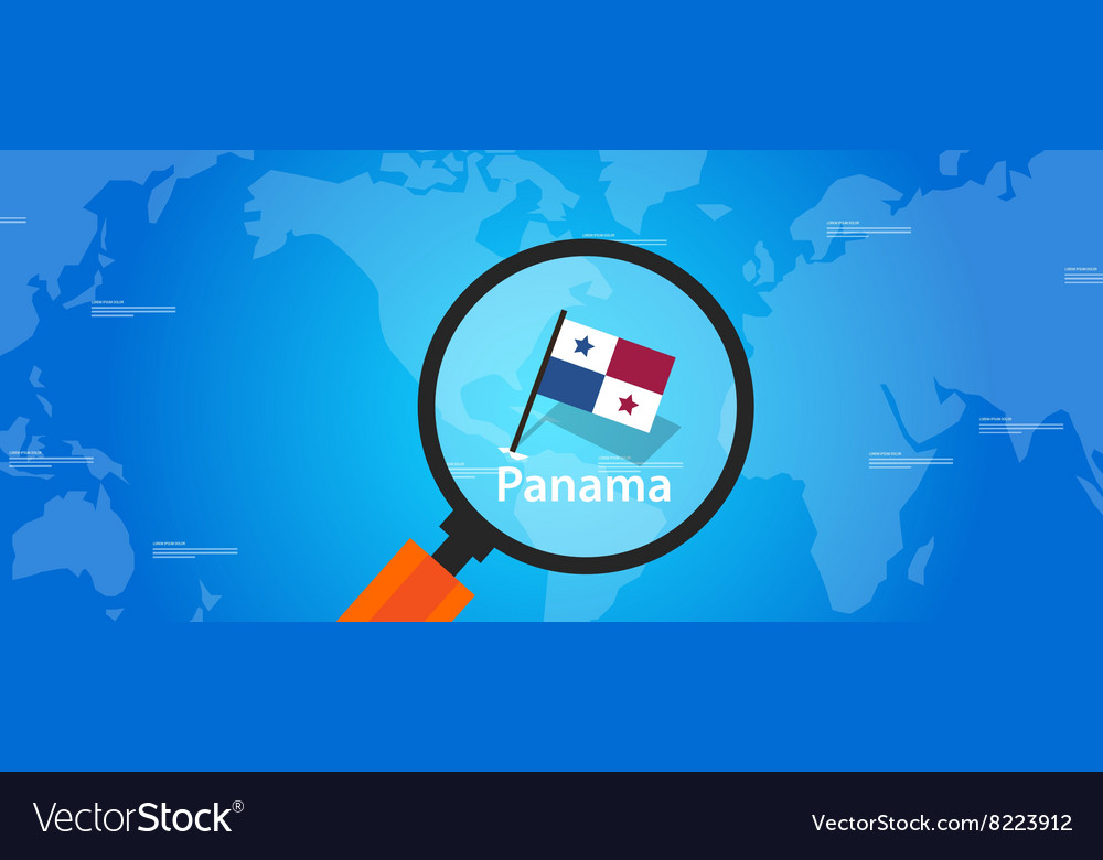 Panama map world location flag vector