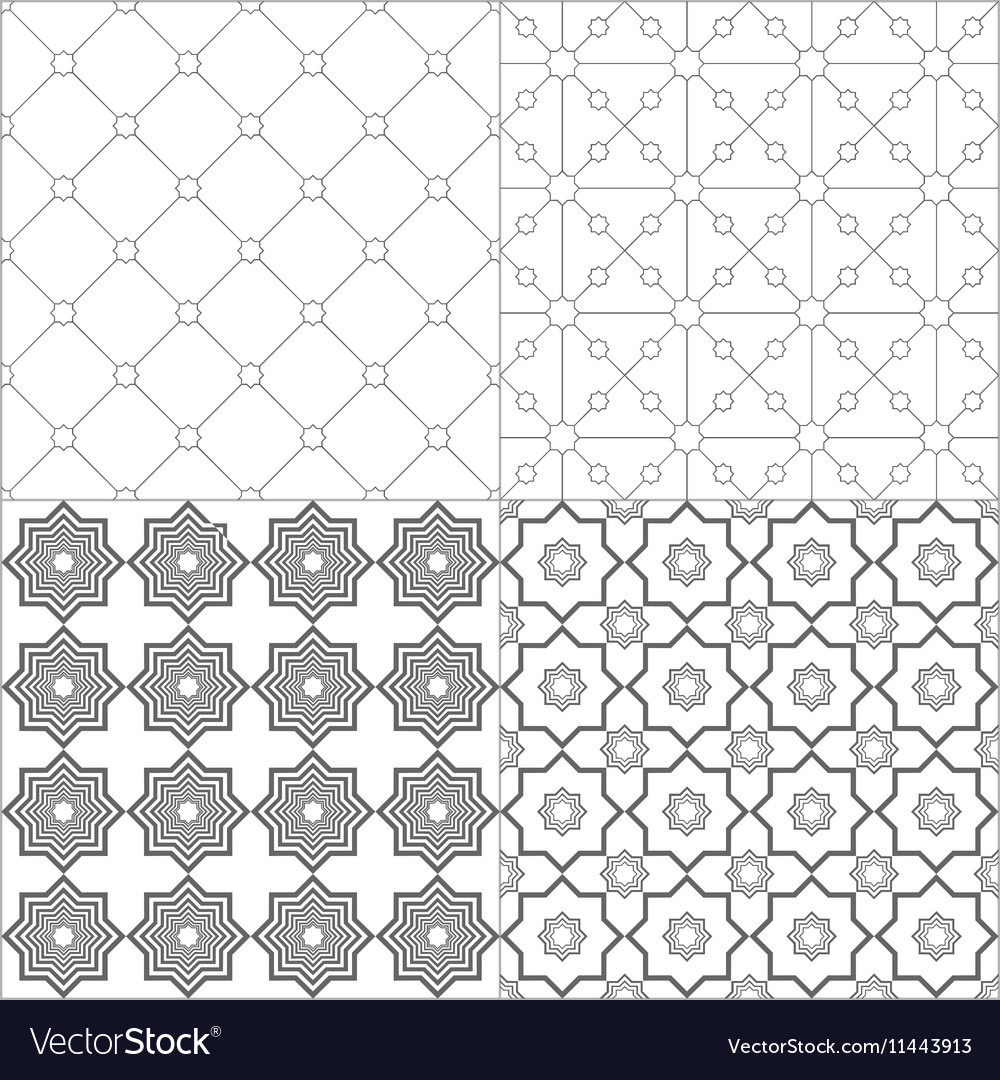 Arabic black white patterns vector