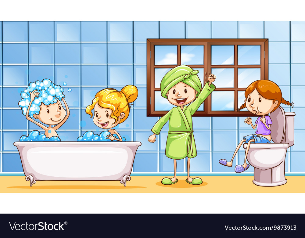 People using bathroom together vector