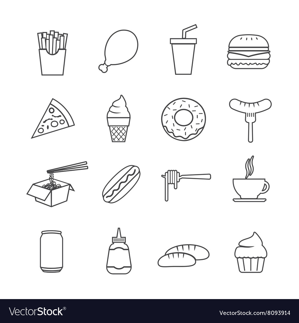 Fast food line icon vector