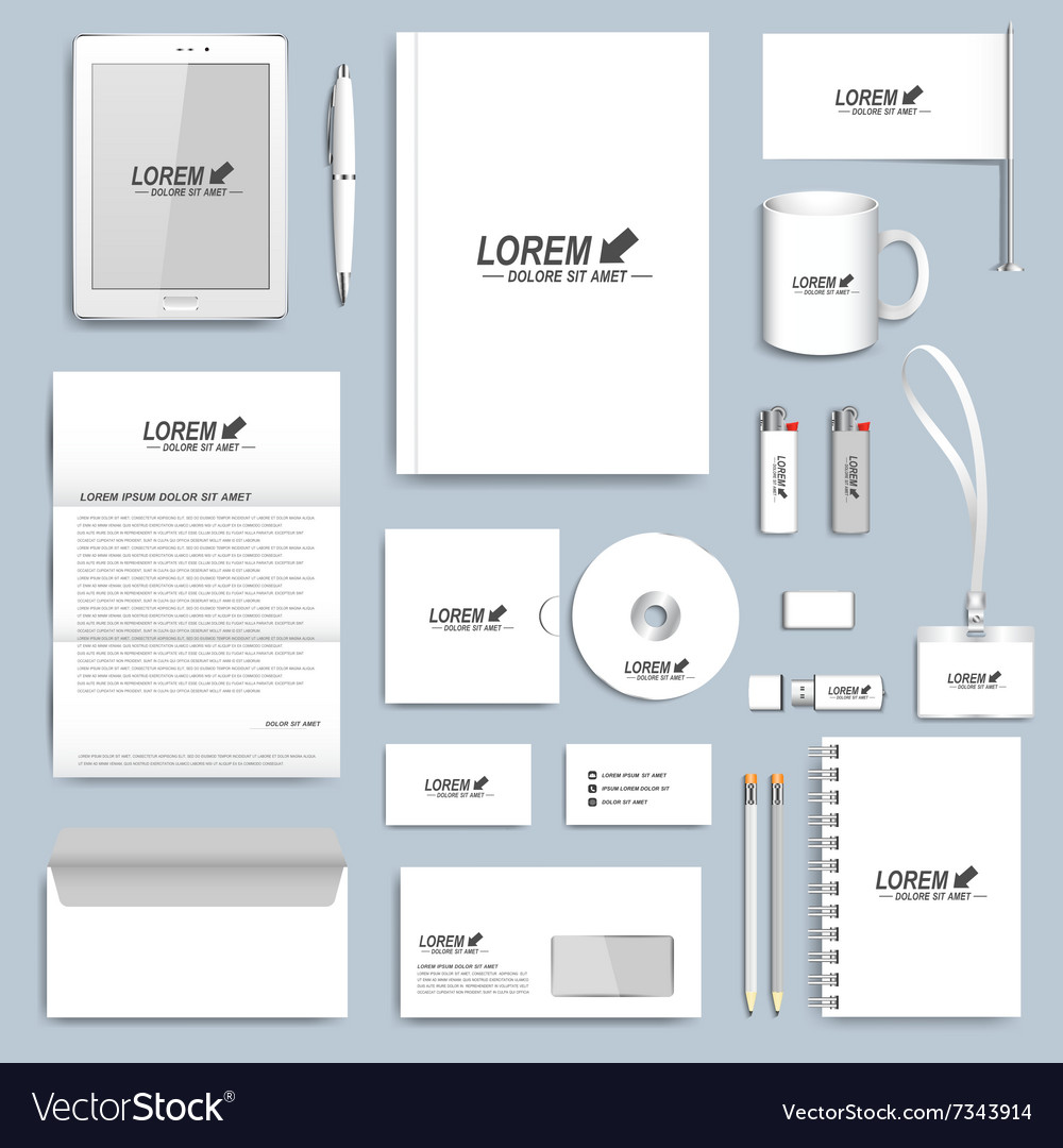 White set of corporate identity templates vector