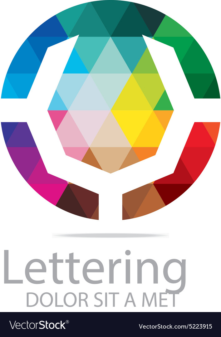 Abstract logo lettering v rainbow alphabet design vector