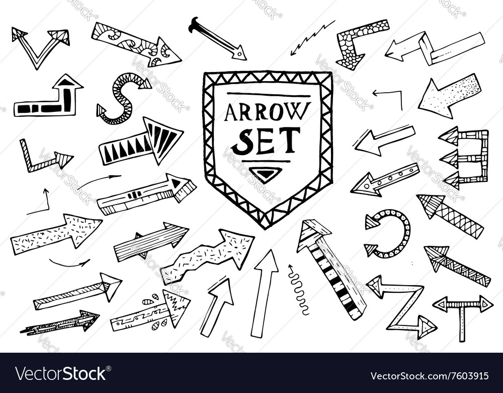 Hand drawn arrow icons set isolated on white vector