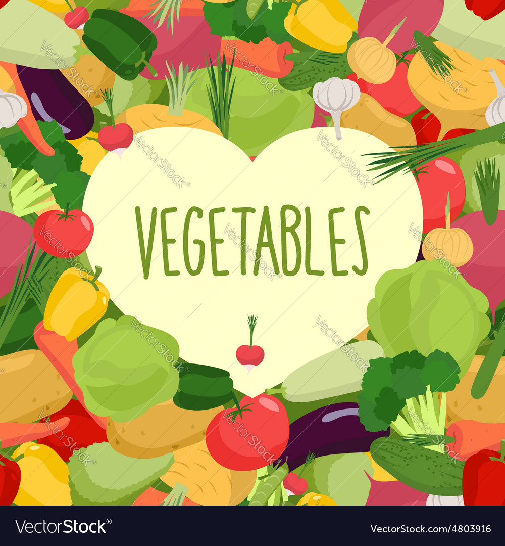 Fresh vegetables heart in vegetables vector