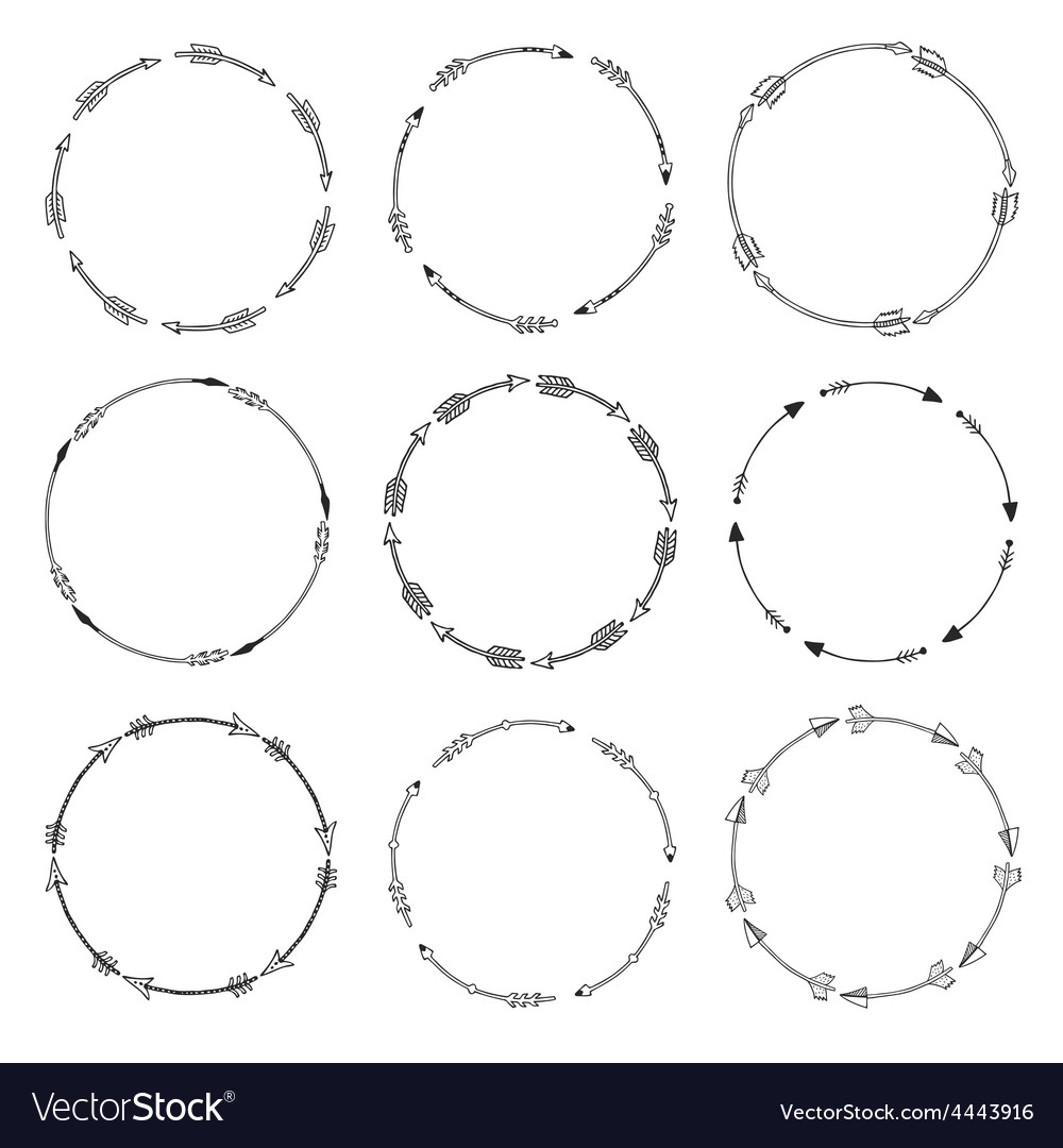 Set of arrow borders tribal frames vector