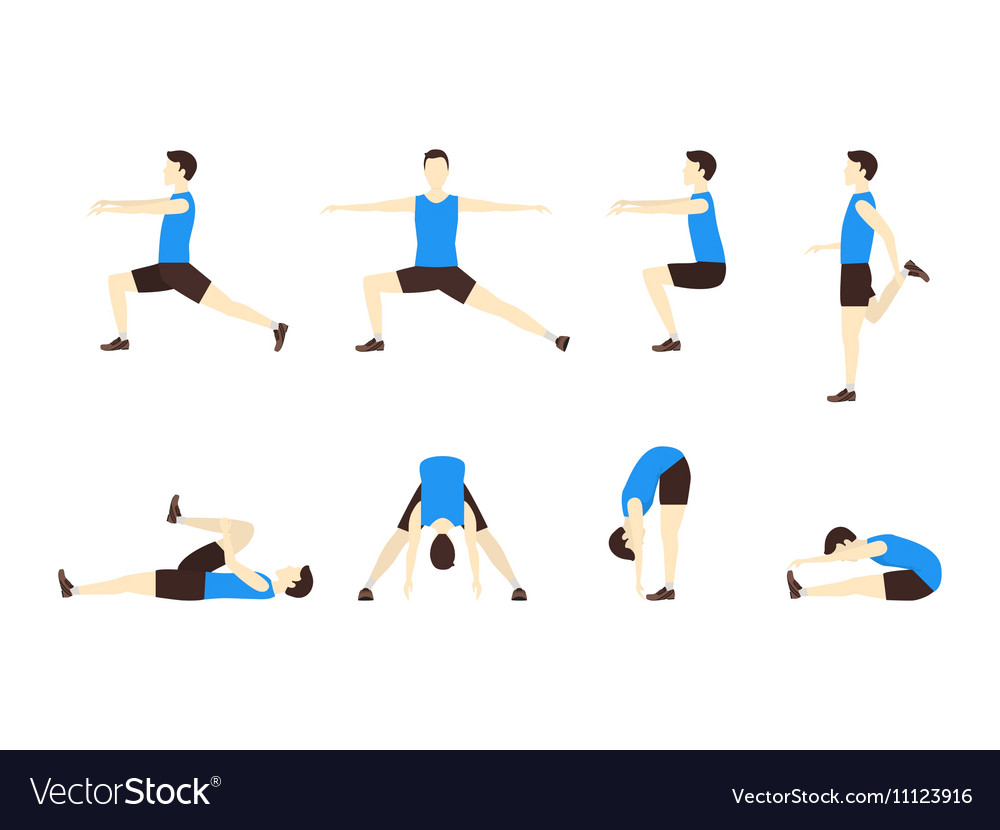 Stretching exercise set with man flat vector