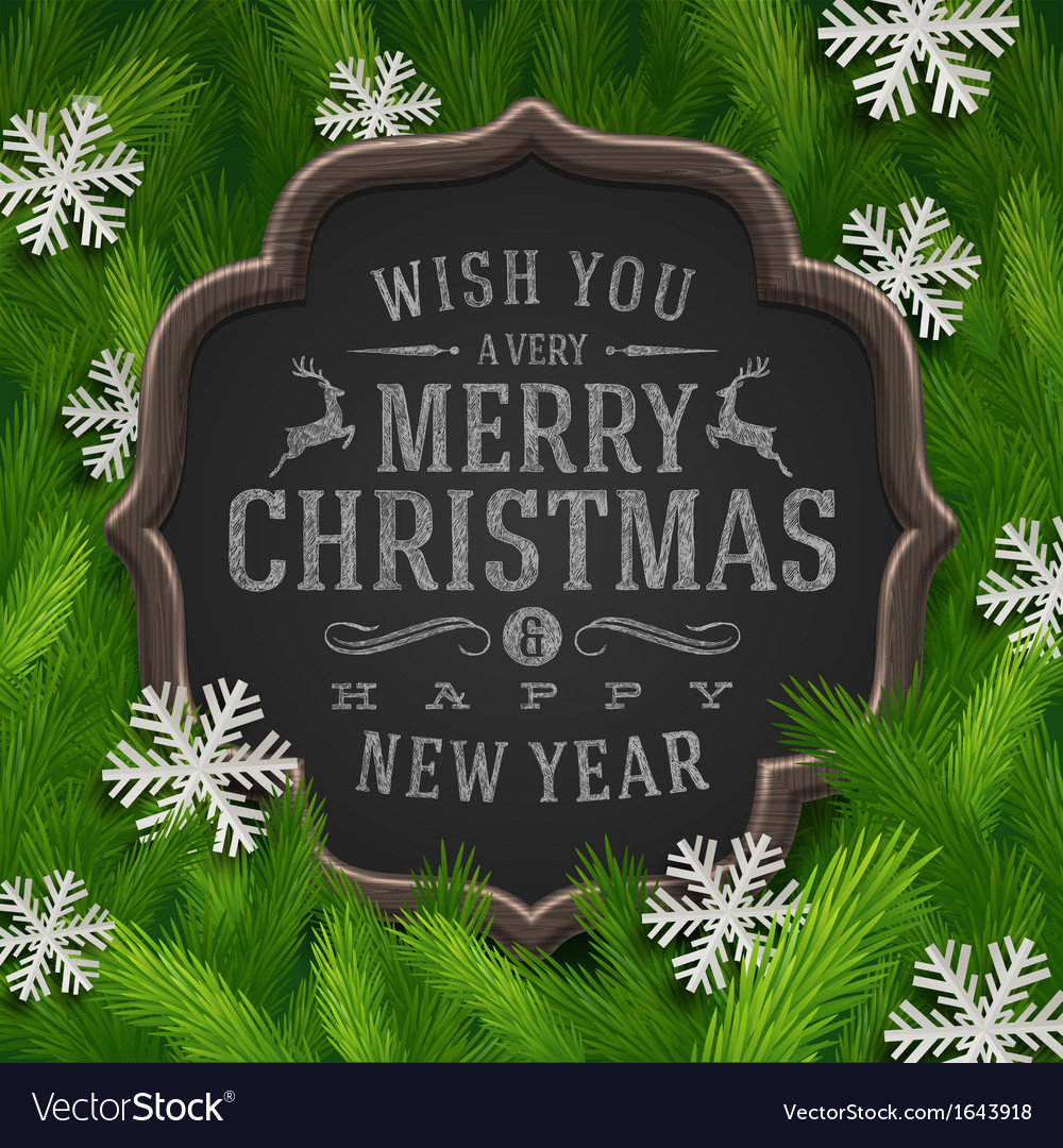 Chalkboard with christmas greeting and snowflakes vector