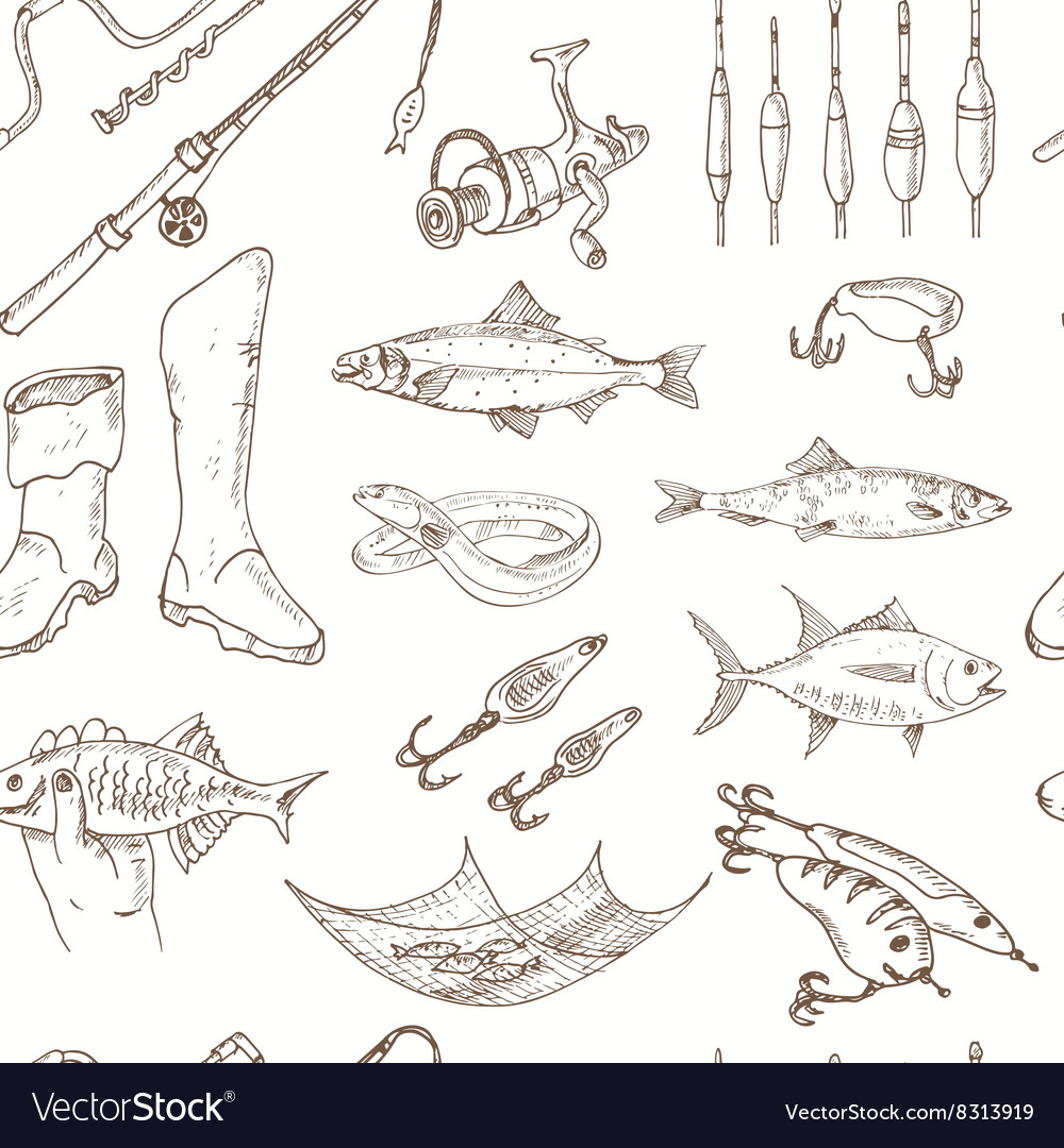 Fishing tackle tools seamless pattern sketches vector