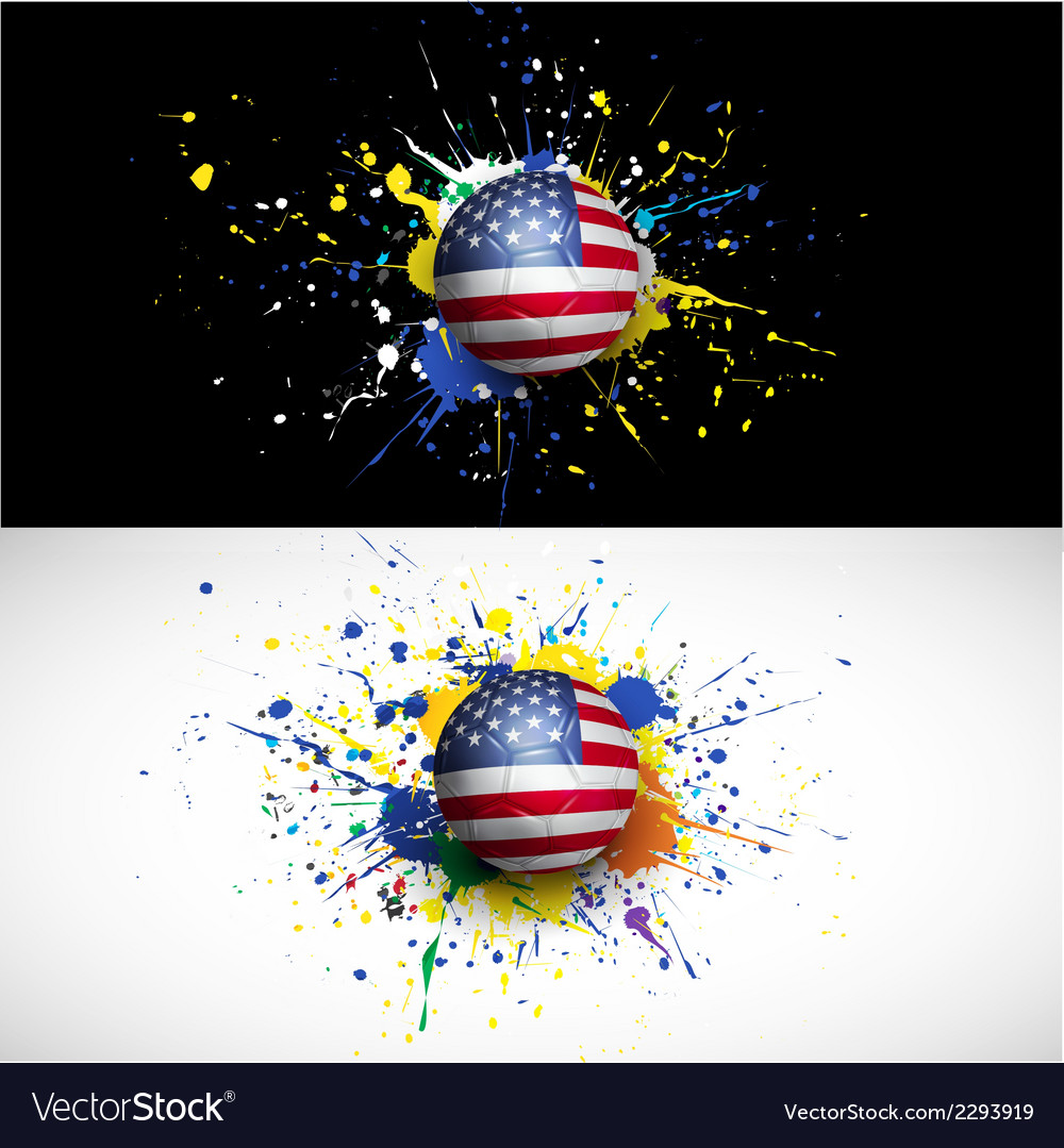 Usa flag with soccer ball dash on colorful vector