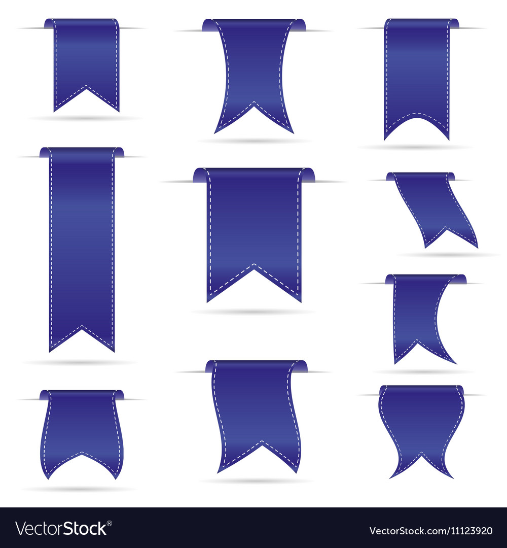Blue hanging curved ribbon banners set eps10 vector