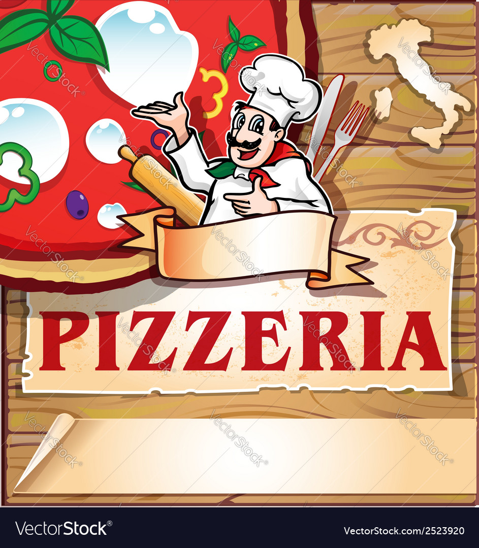 Pizzeria background with italian chef vector