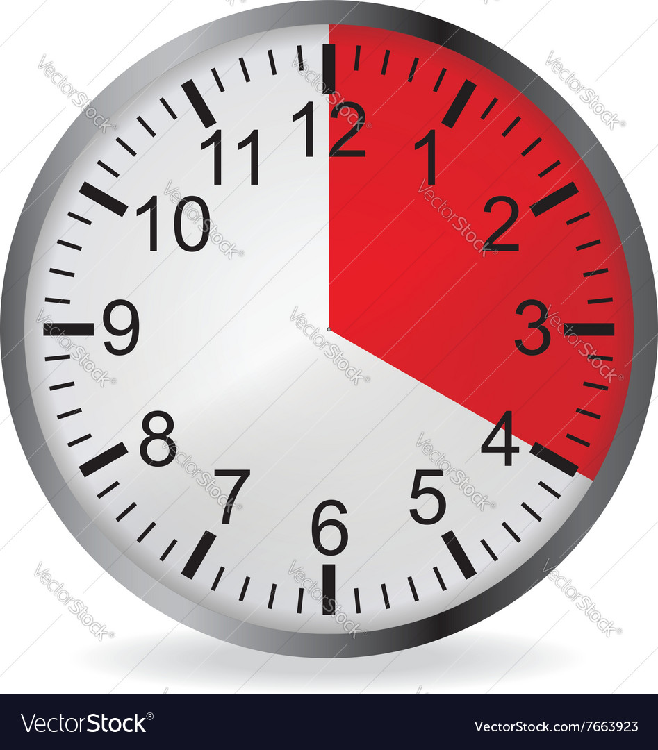 Clock with red 20 minute deadline vector