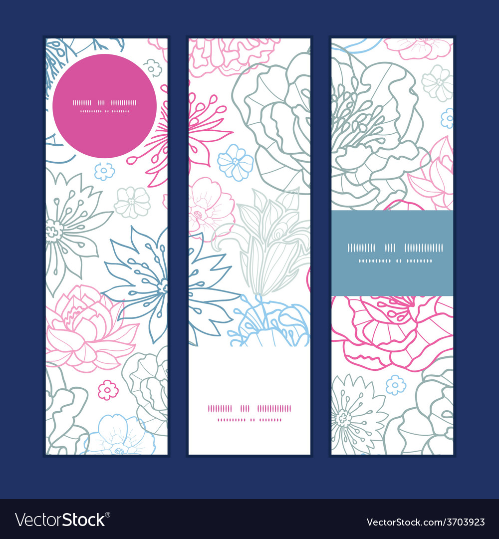 Gray and pink lineart florals vertical vector
