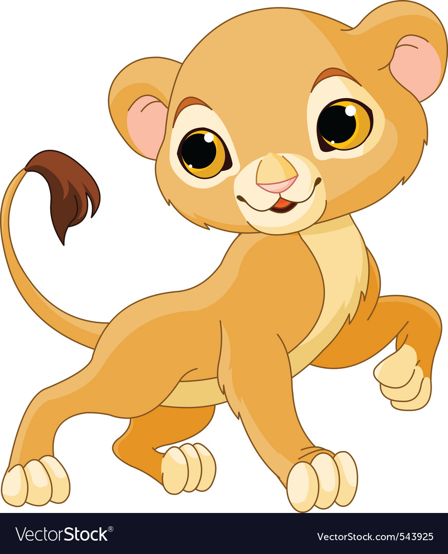 Cute lion cub vector