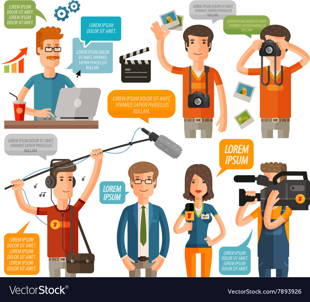 Photographer and reporter television journalism vector