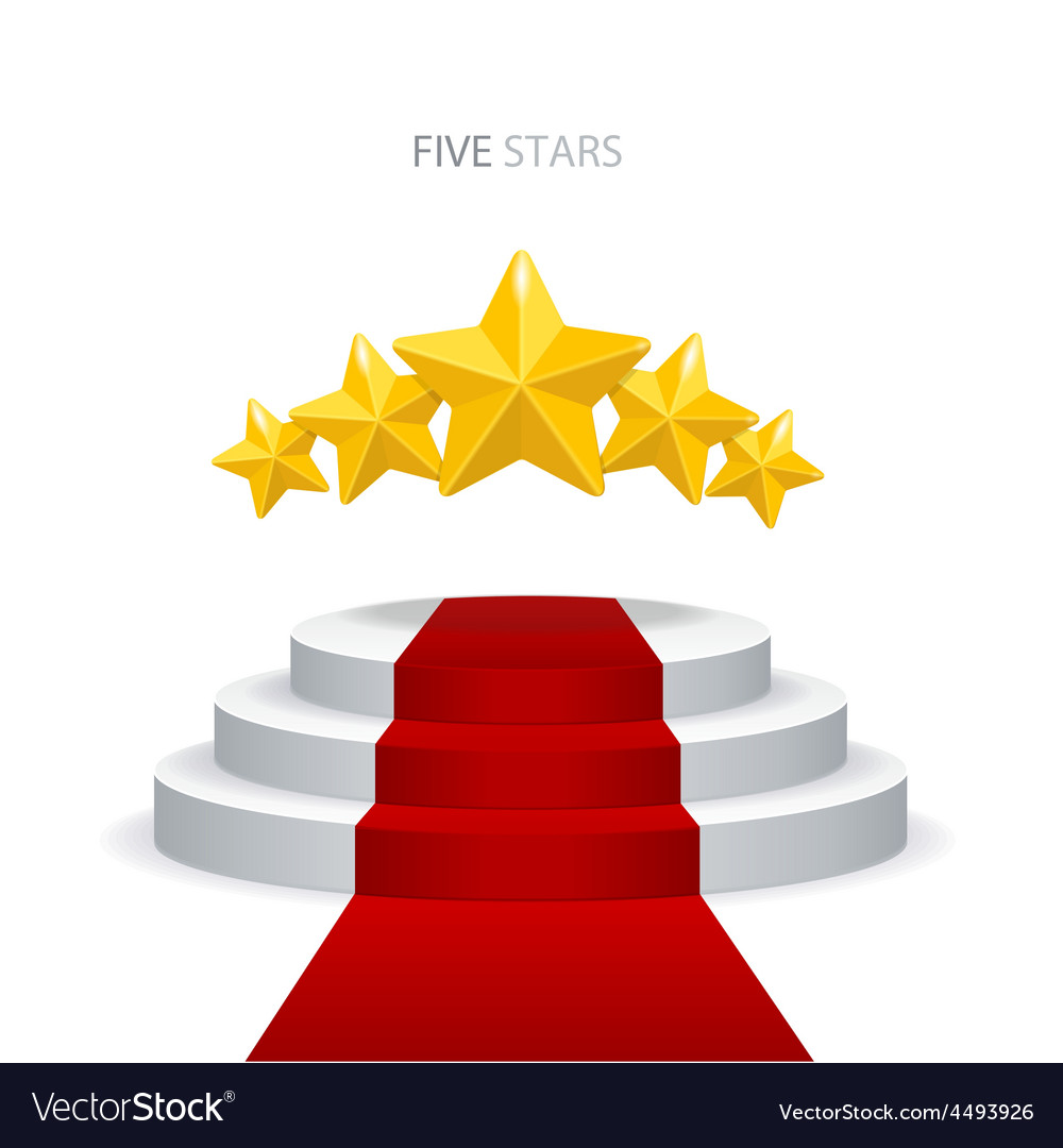 Podium with red carpet and stars vector