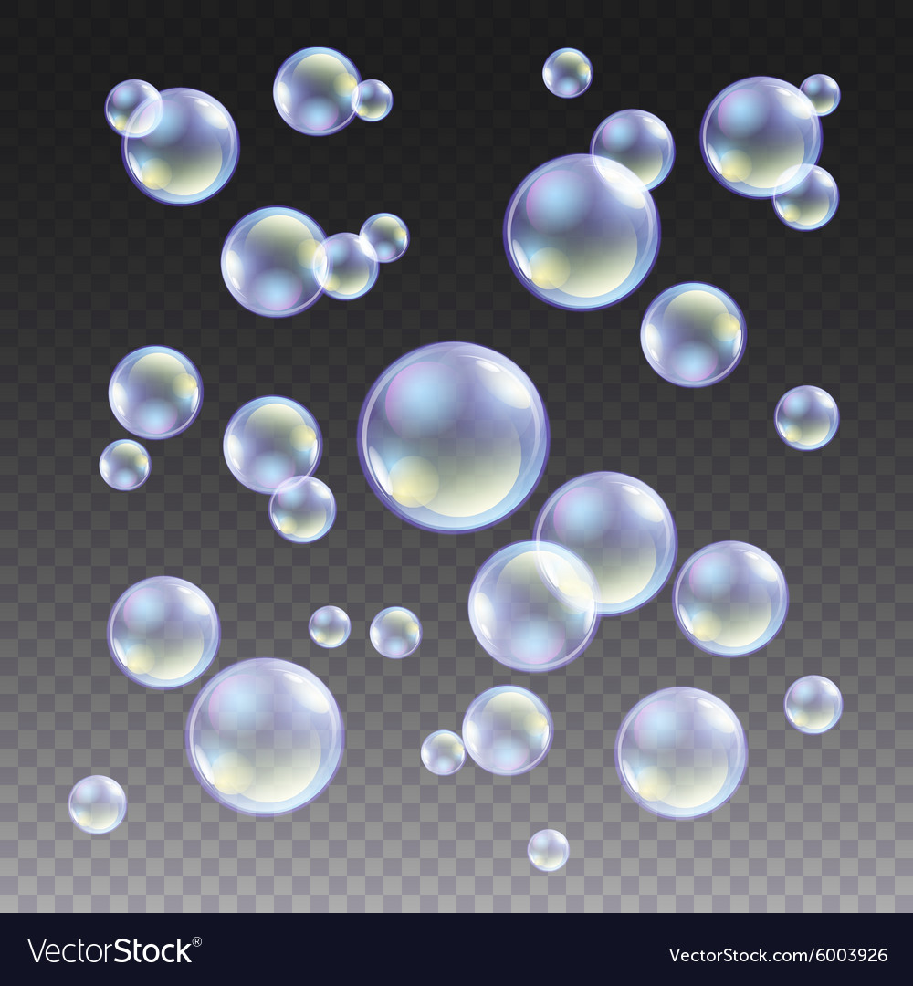 Transparent blue soap bubbles set on plaid vector