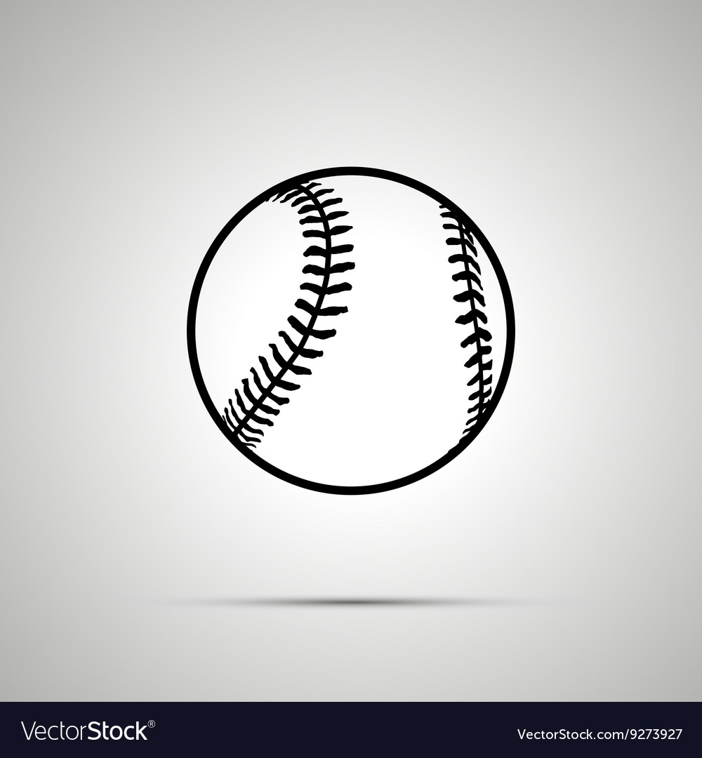 Baseball ball simple black icon vector